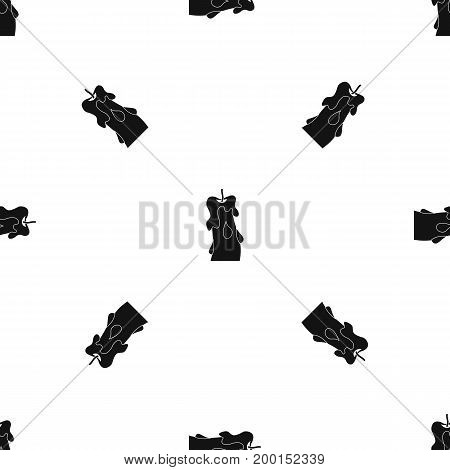 Candle pattern repeat seamless in black color for any design. Vector geometric illustration