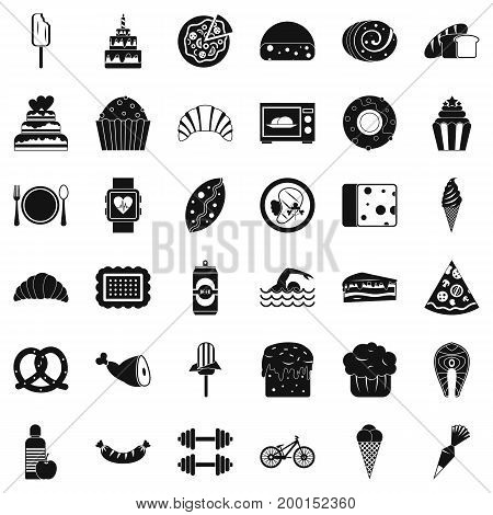 Calories in food icons set. Simple style of 36 calories in food vector icons for web isolated on white background