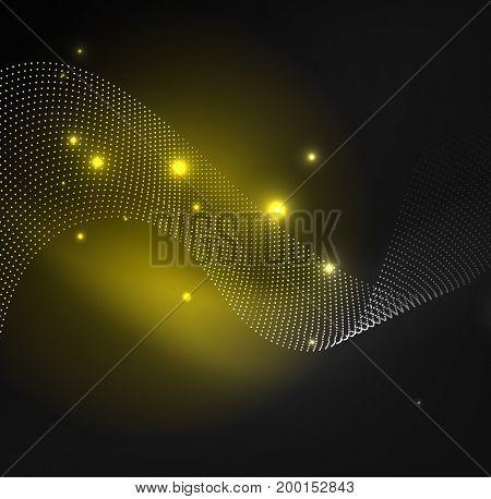 3D illuminated wave of glowing particles. HUD design element. Technology digital splash concept