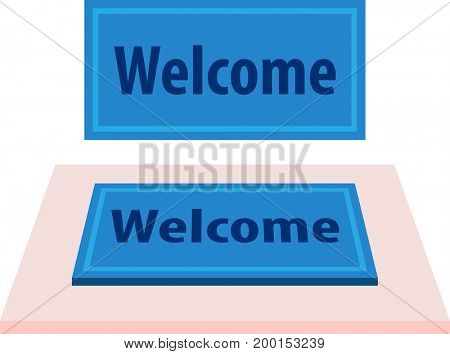 Welcome Carpet, Doormat with Welcome Text  Raster Illustration