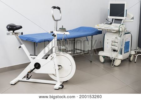 Ultrasound Machine With Examination Bed And Exercise Bike