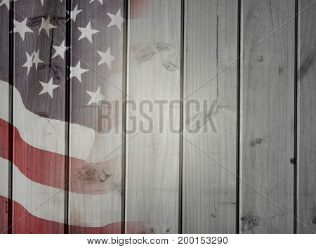 Closeup of American flag on boards