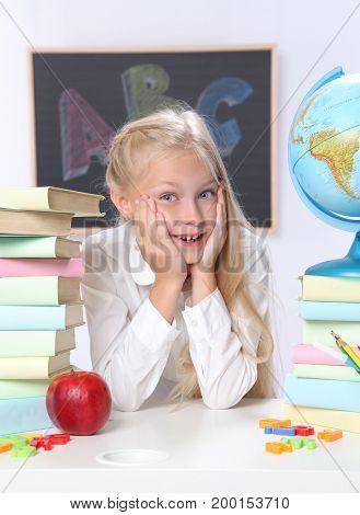 Portrait of cute girl in classroom
