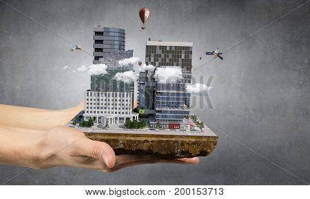 Urban construction development. Mixed media . Mixed media