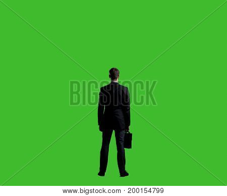 Businessman standing over chroma key background. Business, career job concept.