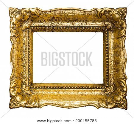 Big old gold picture frame, isolated on white