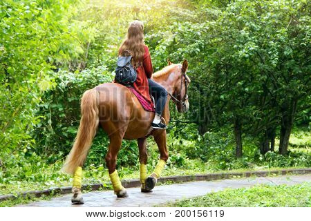 Girl riding a horse in a park on a sunny day