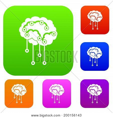 Sensors on human brain set icon in different colors isolated vector illustration. Premium collection