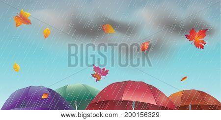 Rainy day Autumn landscape with fall leaves, umbrella, rain, sky clouds. Fall rain weather, fall season, Rainfall, rain drops background vector illustration. Beautiful Realistic drawing