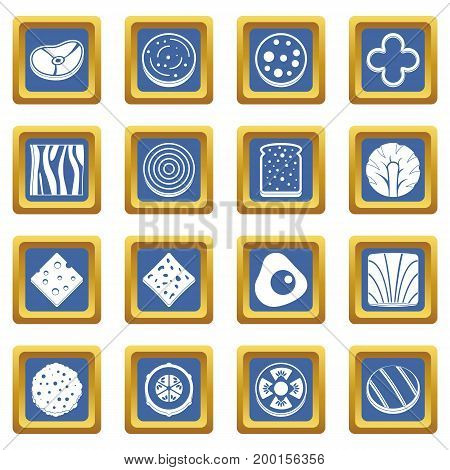 Slice food ingredient icons set in blue color isolated vector illustration for web and any design