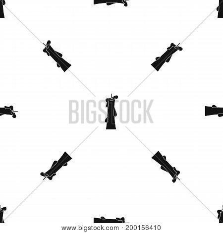 Church candle pattern repeat seamless in black color for any design. Vector geometric illustration