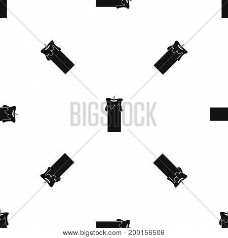 Big candle pattern repeat seamless in black color for any design. Vector geometric illustration
