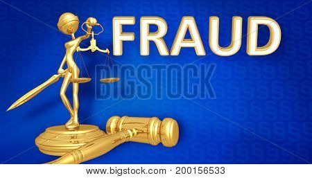 Fraud Law Concept Lady Justice The Original 3D Character Illustration