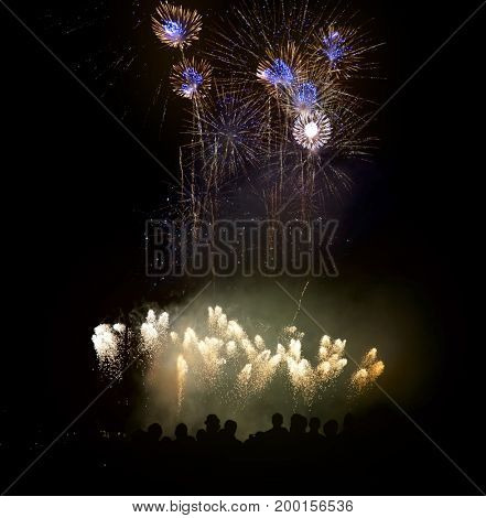 Silhouettes Of People Watching Beautiful Fireworks