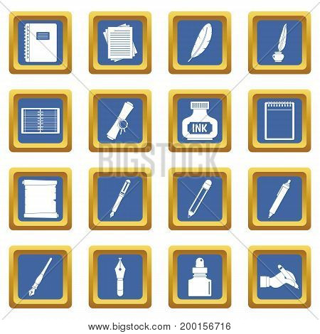 Writing icons set in blue color isolated vector illustration for web and any design