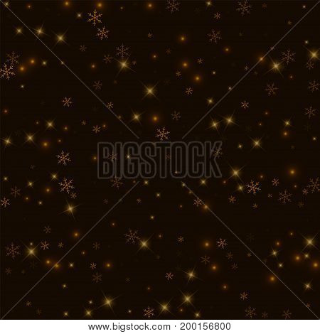 Sparse Starry Snow. Chaotic Scatter Lines On Black Background. Vector Illustration.