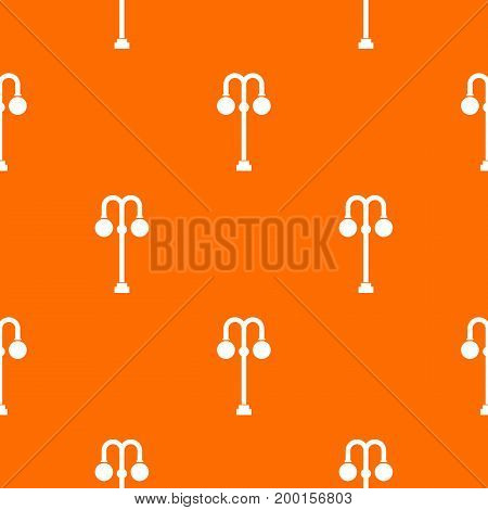 Street lamp pattern repeat seamless in orange color for any design. Vector geometric illustration