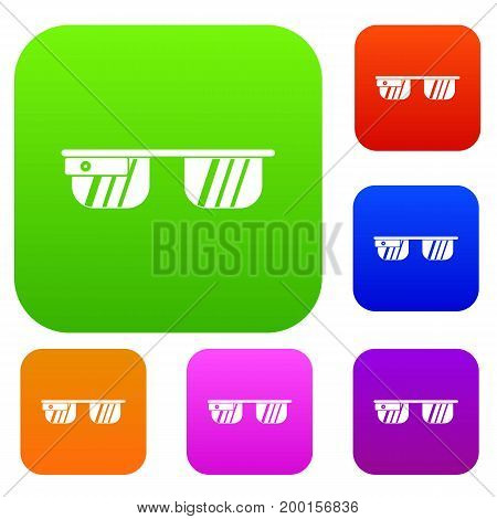 Smart glasses set icon in different colors isolated vector illustration. Premium collection