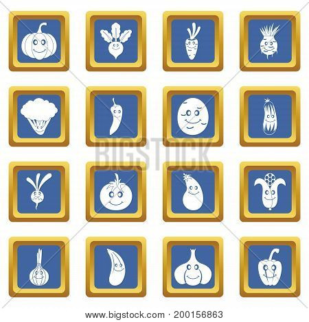 Smiling vegetables icons set in blue color isolated vector illustration for web and any design