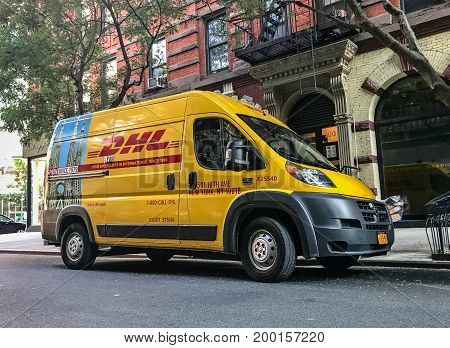 New York August 17 2017: DHL van is parked in the streets of Manhattan.