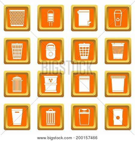 Trash can icons set in orange color isolated vector illustration for web and any design