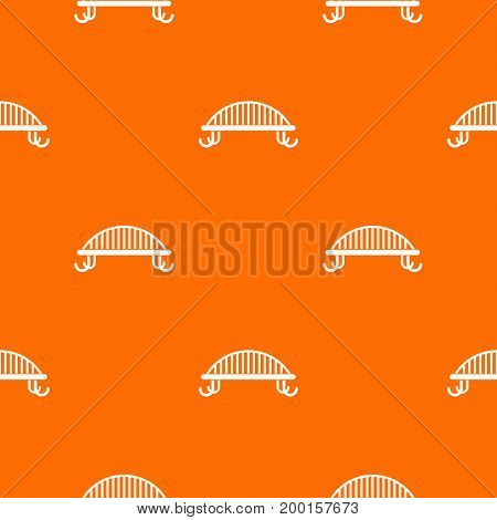Bench with backrest pattern repeat seamless in orange color for any design. Vector geometric illustration