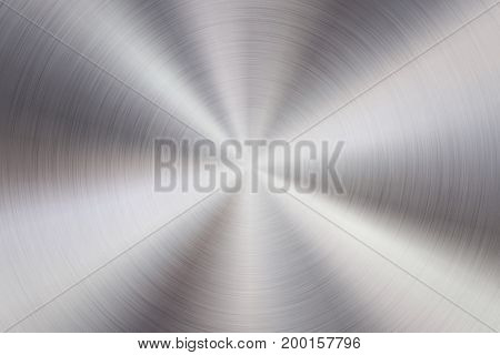Metal abstract technology background with circular polished, brushed concentric texture, chrome, silver, steel, aluminum for design concepts, web, prints, wallpapers, interfaces. Vector illustration.