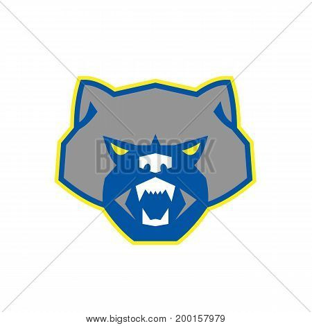 Illustration of an angry wolf wolverine head viewed from front set on isolated white background done in retro style.