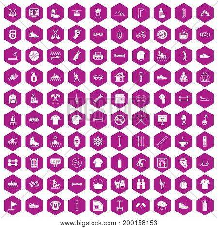 100 sport life icons set in violet hexagon isolated vector illustration