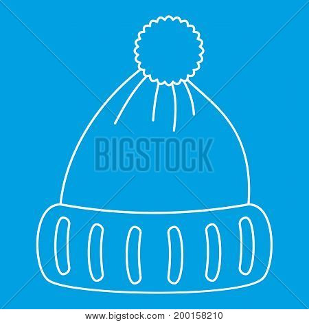 Woolen hat icon blue outline style isolated vector illustration. Thin line sign