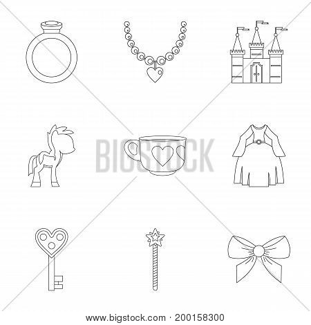 Princess things icon set. Outline style set of 9 princess things vector icons for web isolated on white background