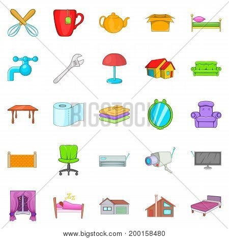 Cozy icons set. Cartoon set of 25 cozy vector icons for web isolated on white background
