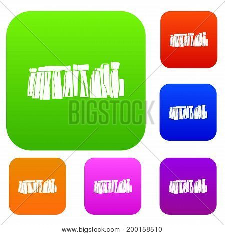 Stonehenge set icon in different colors isolated vector illustration. Premium collection