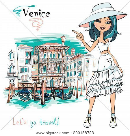 Vector cute beautiful fashion girl in in white t-shirt, hat and skirt, , Venice, Italia.