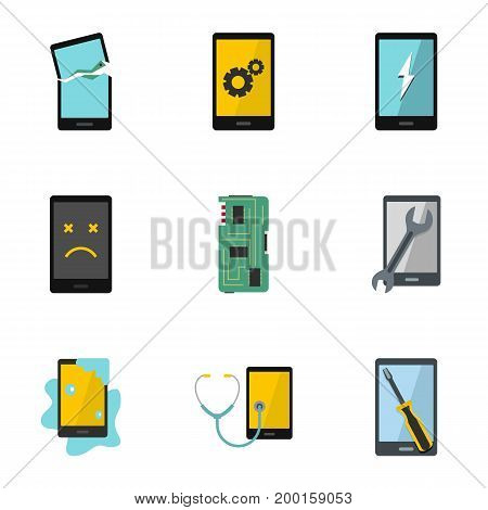 Broken phones fix icon set. Flat style set of 9 broken phones fix vector icons for web isolated on white background