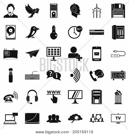 Telephone communication icons set. Simple style of 36 telephone communication vector icons for web isolated on white background