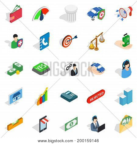 License icons set. Isometric set of 25 license vector icons for web isolated on white background