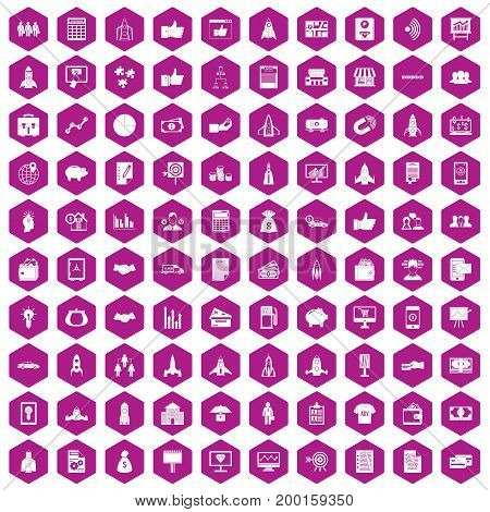 100 startup icons set in violet hexagon isolated vector illustration