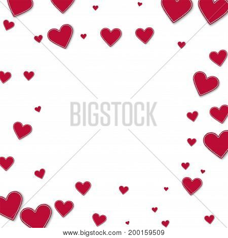 Cutout Red Paper Hearts. Square Scattered Frame On White Background. Vector Illustration.