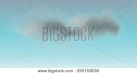 Rain. Rainy day. Rainy sky and clouds landscape. Raindrops texture backdrop. Dynamic lines rainy sky background. Fall rain or Spring rainy sky. Rainy day, wet, vector illustration.