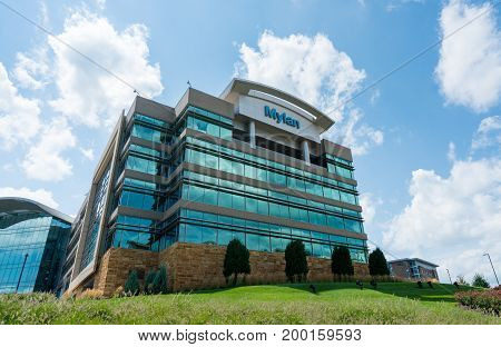 CANONSBURG, PENNSYLVANIA, USA - AUGUST 17: Exterior of Mylan Global Headquarters on August 17, 2017 in Canonsburg, PA.   Mylan is in the news over pricing of the Epipen.