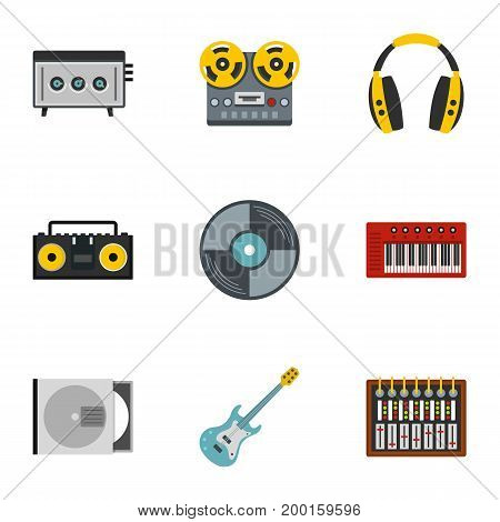 Music recording icon set. Flat style set of 9 music recording vector icons for web isolated on white background