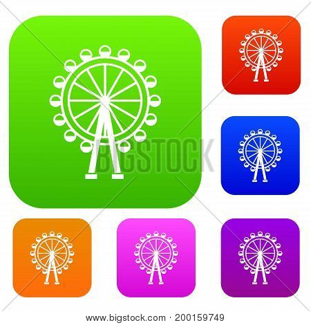 Ferris wheel set icon in different colors isolated vector illustration. Premium collection