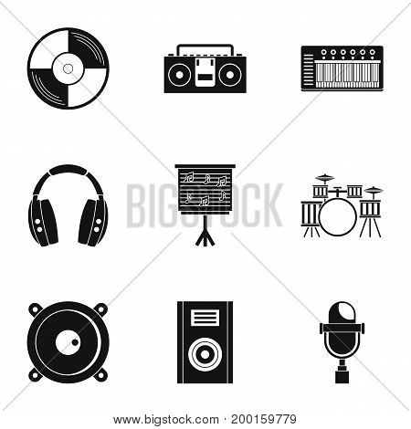 Sound studio icon set. Simple style set of 9 sound studio vector icons for web isolated on white background