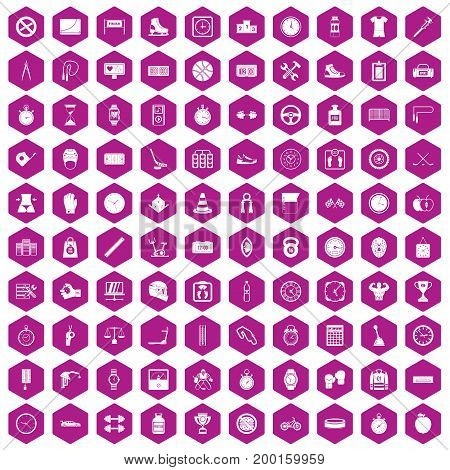100 stopwatch icons set in violet hexagon isolated vector illustration