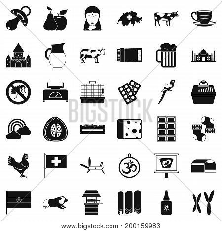 Swiss cow icons set. Simple style of 36 swiss cow vector icons for web isolated on white background