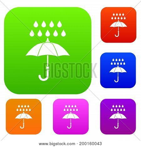 Umbrella and rain set icon in different colors isolated vector illustration. Premium collection