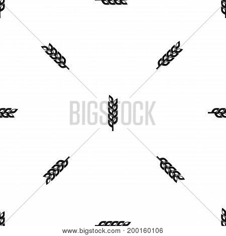 Grain spike pattern repeat seamless in black color for any design. Vector geometric illustration