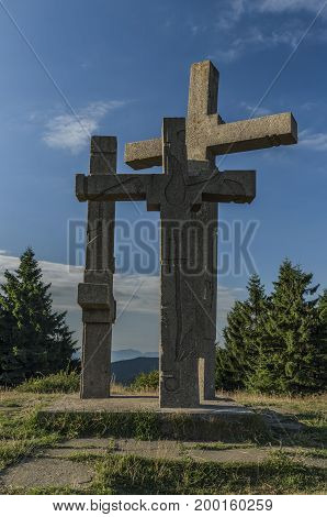 On hill Stratenec with crosses and observation tower in Javorniky mountains