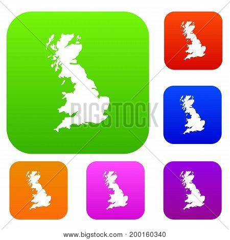Map of Great Britain set icon in different colors isolated vector illustration. Premium collection